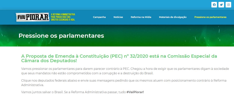 #VaiPiorar |  Site ajuda a pressionar os parlamentares contra a Reforma Administrativa